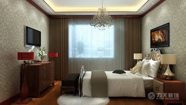 天山熙湖三室二厅美式装修效果图