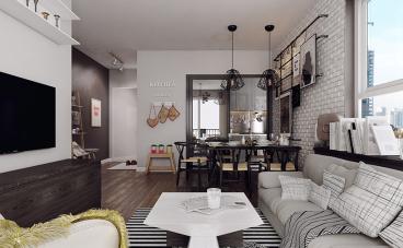 昆山新城天地现代简约三室二厅装修效果图