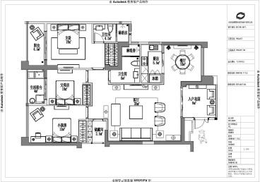 乐成国际三室二厅全包装修效果图