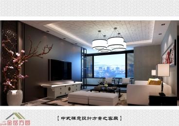 泰悦赫府中式三室二厅装修效果图