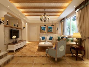 东海花园四室二厅140平美式装修效果图