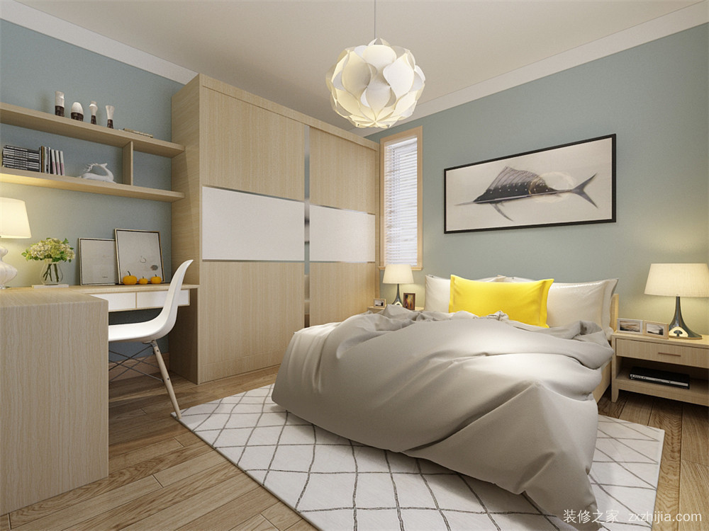 卧室使用灰绿色乳胶漆,家具与客厅配套,整体效果更加和谐.