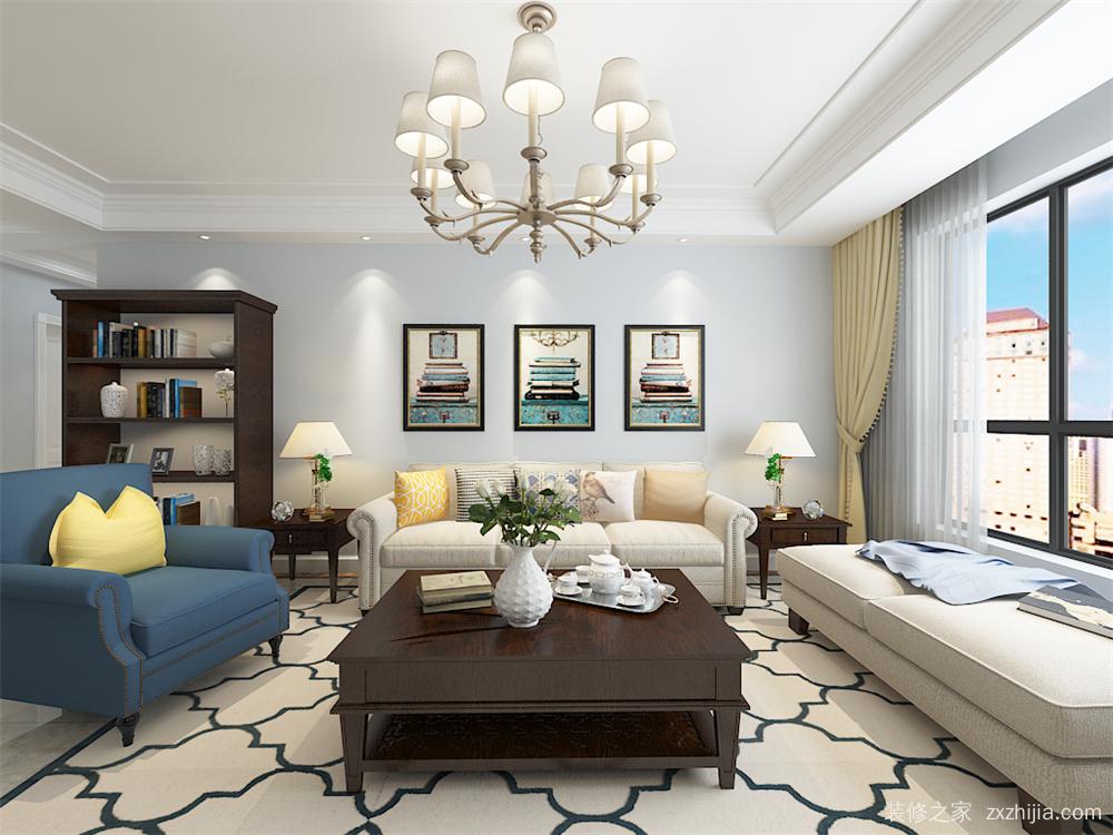 港西新城美式客厅效果图 客厅与餐厅顶面为石膏板直线吊顶和石膏板