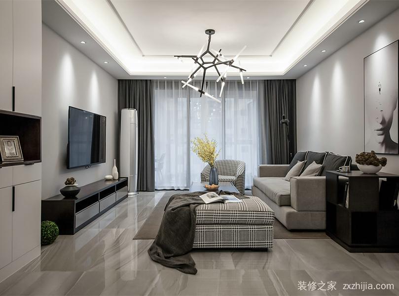 盛港花园三室二厅现代简约装修效果图