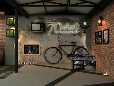 三桥街新街坊餐厅工业风八室五厅装修效果图