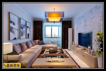 鹊华天禧新中式三室二厅装修效果图