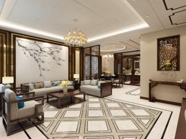 孔雀城四期新中式四室二厅装修效果图
