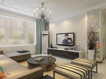 映月紫云城现代简约三室二厅装修效果图