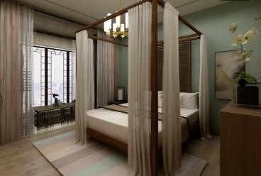 元一名城三室二厅新中式装修效果图