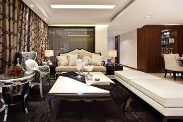 西港碧水湾时尚混搭三室二厅装修效果图