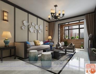 大曌国际三室二厅中式装修效果图