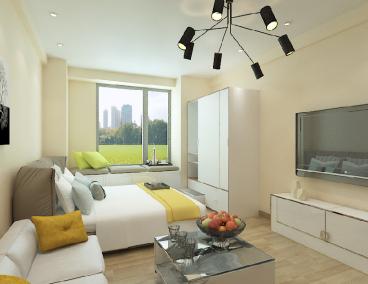 华润中央公园全包一室一厅装修效果图