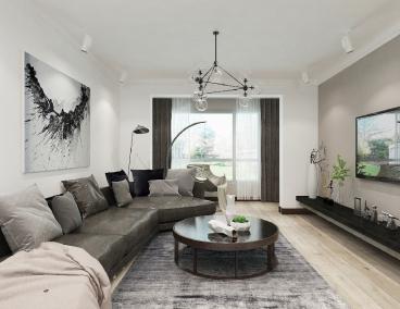 名流印象现代简约三室一厅装修效果图