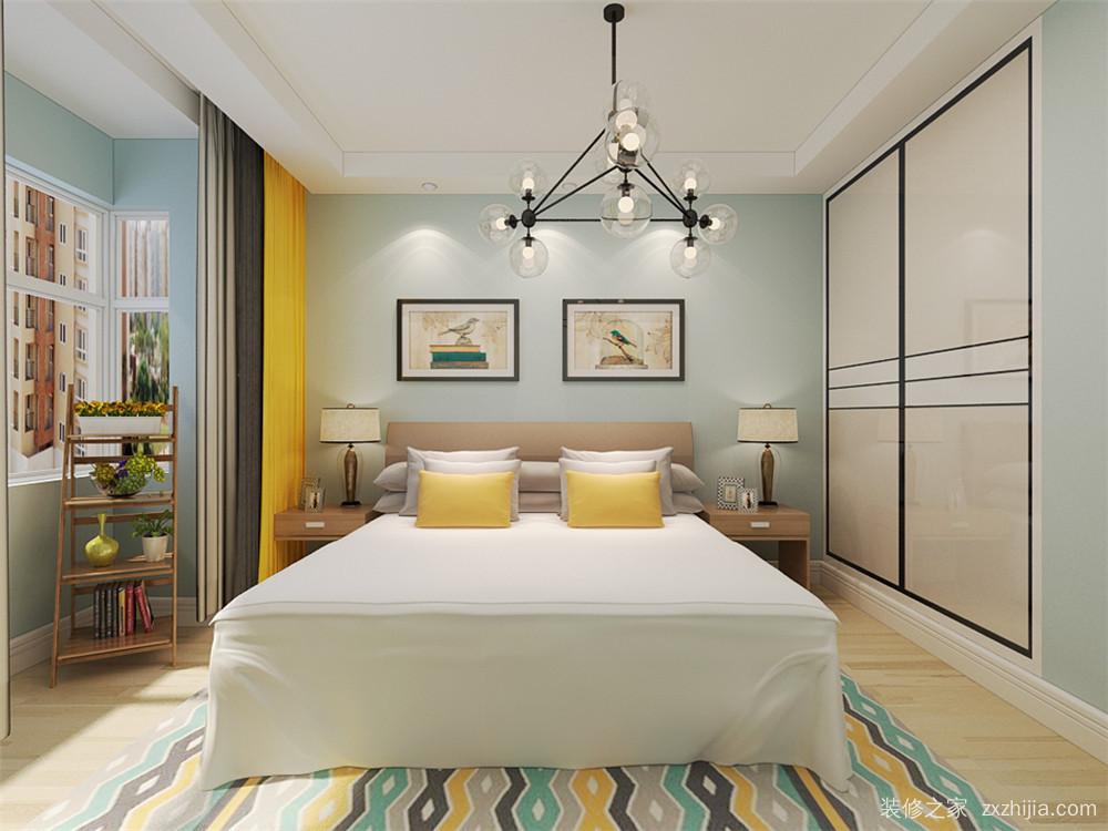次卧室作为儿童房使用,床头地方定制衣柜,可以节省一部分面积,衣柜