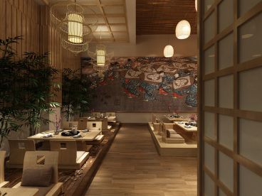 日式简约风格餐厅零室零厅74平装修效果图