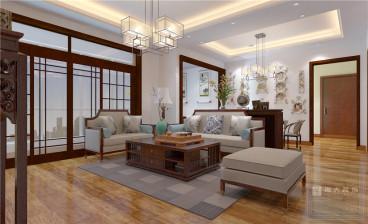 保利温泉新城三室二厅新中式装修效果图