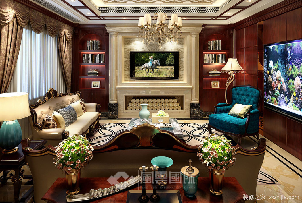 江语海排屋三室三厅450平装修效果图
