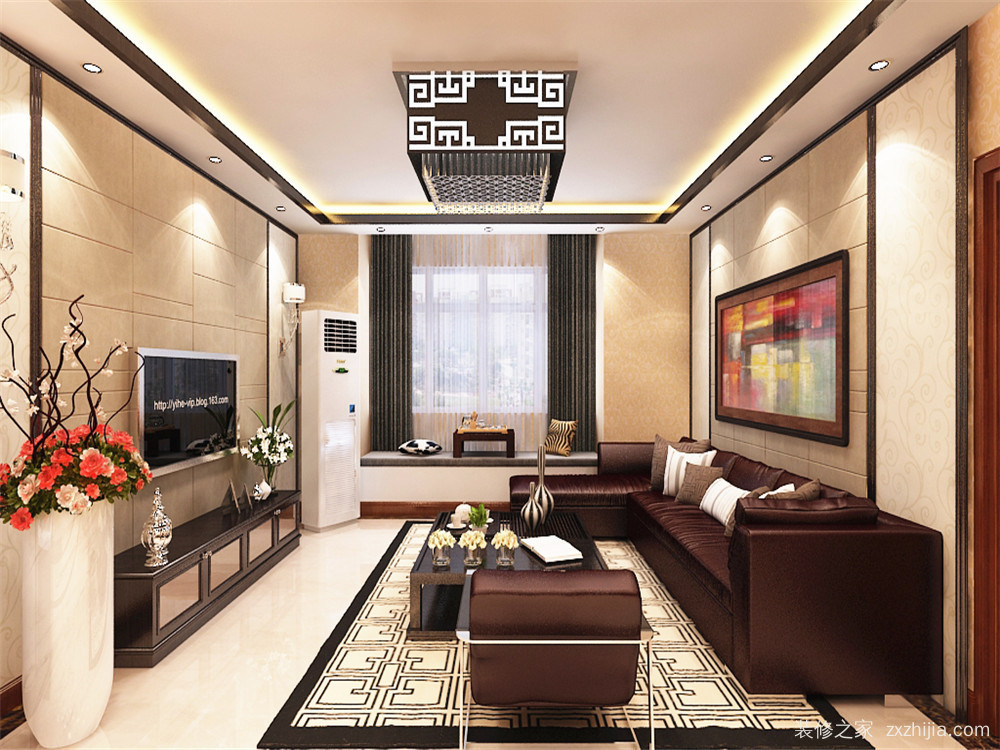 免费获取报价 免费获取户型设计 远洋风景新中式客厅效果图 沙发背景