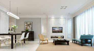 万年花城现代简约三室二厅装修效果图