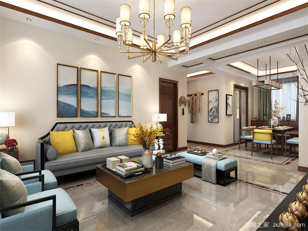 三室二厅装修效果图  客厅          富力又一城 新中式客厅效果图图片