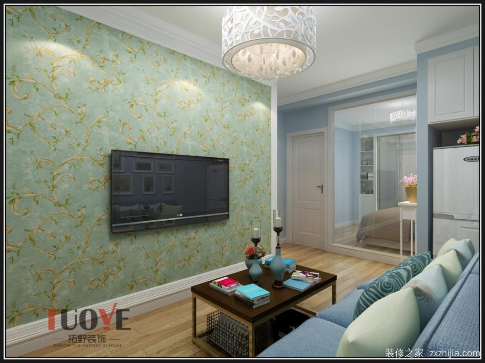 影视墙壁纸铺设,石膏边框收边.沙发墙墙面简洁处理.