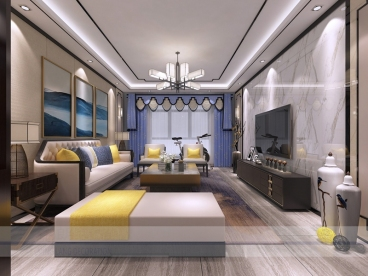 滨河御景园三室二厅新中式装修效果图