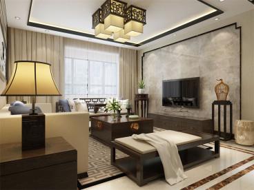 蘭园新中式三室二厅装修效果图