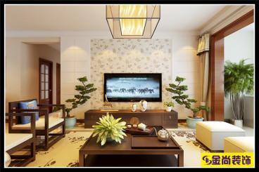 凤凰国际新中式三室二厅装修效果图