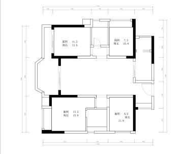 中央公园三室一厅现代简约装修效果图