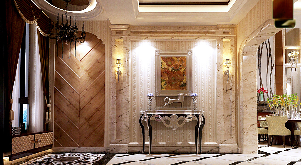 欧式古典风造型繁琐奇特业主喜欢奢华风属于轻装修重装饰棚面以艺术漆图片