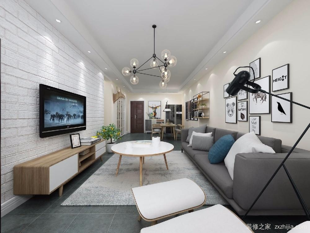白色文化墙做电视墙,节省开支,搭配灰色地砖,有文艺范