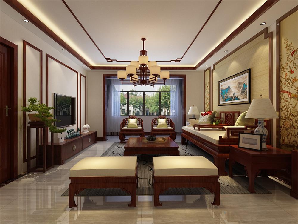 全实木布艺中式沙发,茶几和电视柜都为深色全实木,中国