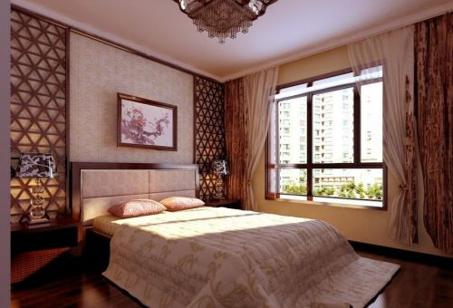 高档新中式卧室效果图