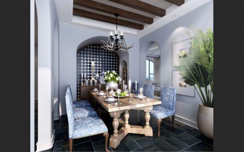 蓝色时尚美式餐厅设计