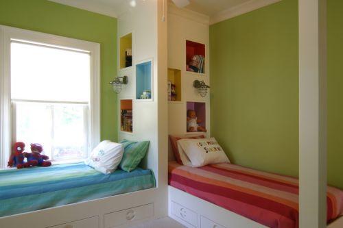 温馨绿色儿童房装潢
