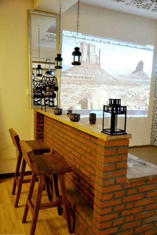 美式厨房吧台效果图