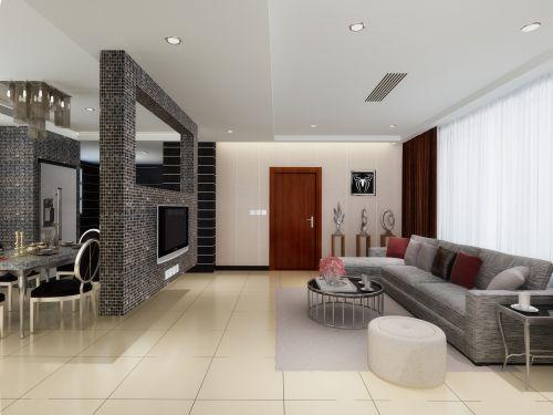 两室一厅现代客厅电视背景墙