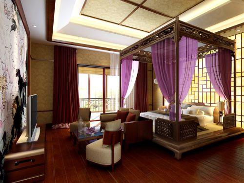 中式东南亚风情卧室装修效果图