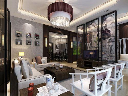 中式风格客厅电视背景墙设计效果图