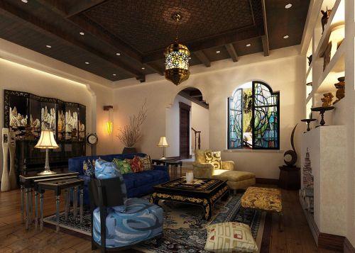 中式东南亚风情客厅装修效果图