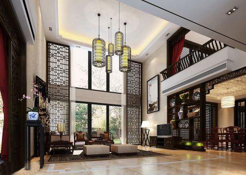 别墅装修中式风格客厅装潢效果图