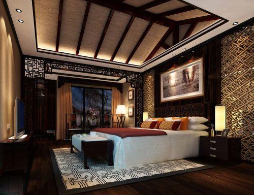 中式东南亚风情卧室吊顶装修效果图