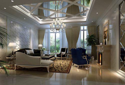 欧式简约风格别墅室内客厅图片
