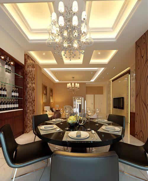 欧式简约餐厅吊顶灯具装修图展示