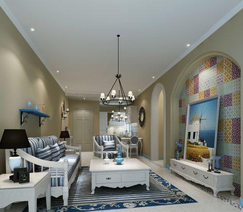 蓝色地中海风格客厅设计