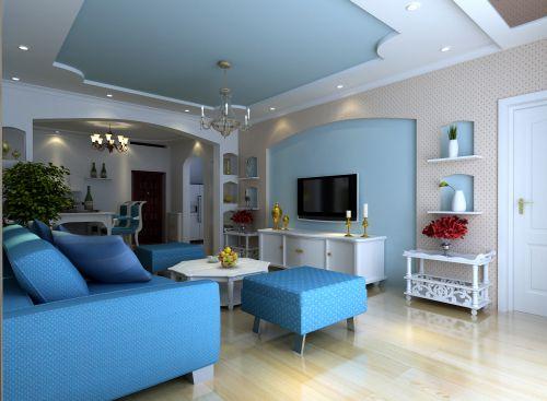 蓝色舒适客厅装潢