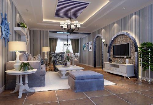 地中海方格客厅装潢