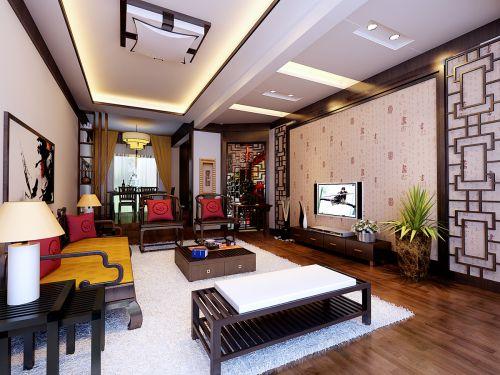 咖啡色中式客厅设计