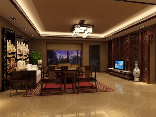 豪华中式古典客厅效果图