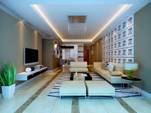 米色简约的客厅装修